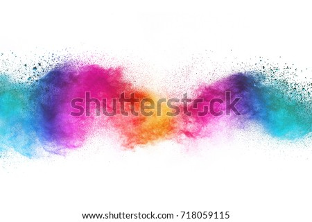 Colorful powder explosion on white background. Colored cloud. Colorful dust explode. #718059115