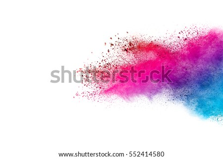 Colorful powder explosion on white background. Colored cloud. Colorful dust explode. Paint Holi. - Shutterstock ID 552414580
