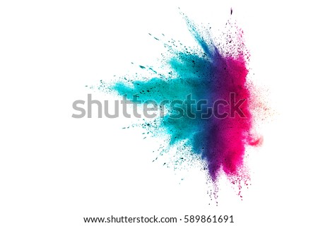 Colorful powder explosion on white background. Colorful dust explode. Paint Holi.