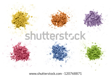 Colorful powder on white.