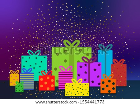 Colorful present boxes with ribbons and circles, christmas presents on the table