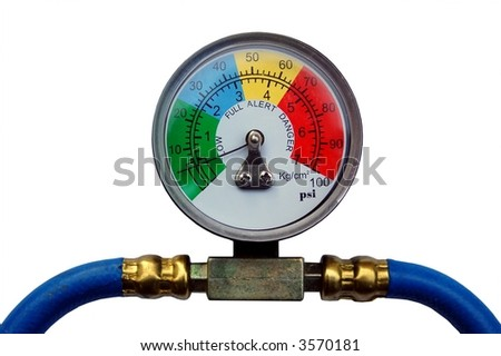 Colorful Pressure Gauge showing low indication