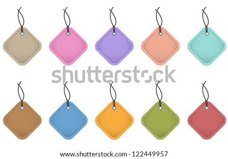 Colorful price tags made of leather for commerce
