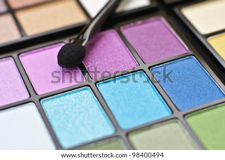 Colorful professional make-up palette