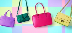 Colorful purses on pop background