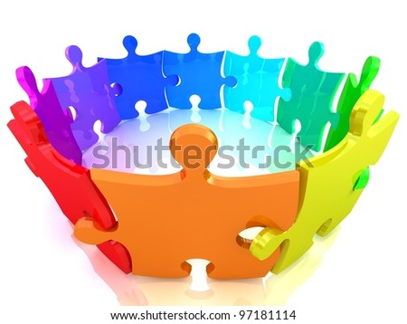 Colorful Puzzle on white background. Isolated 3D image