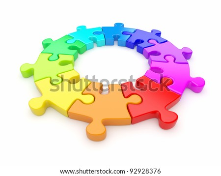 Colorful puzzle ring 3D. Team concept. Isolated on white background