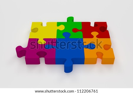 Colorful Puzzle - Six Pieces in different colors