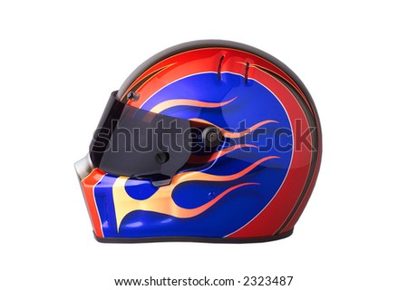 colorful racing helmet, with flames,tinted visor