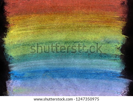 Colorful rainbow chalk pastel background / soft pastel. Handdrawn rainbow gradient, rough texture. #1247350975