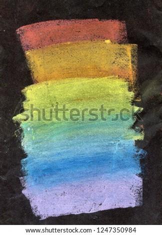 Colorful rainbow chalk pastel background / soft pastel. Handdrawn rainbow gradient, rough texture. #1247350984
