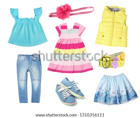 25889ec2c599 Colorful rainbow child girl clothes isolated on white. Kid s apparel bright  set.  1310356111