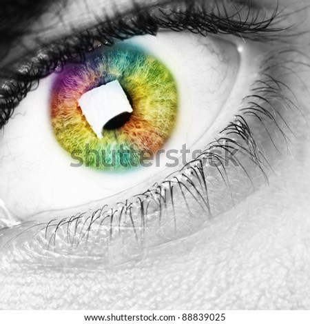 colorful rainbow eye, black and white photo