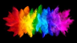 colorful rainbow holi paint color big  double powder explosion isolated on dark black wide panorama background. peace rgb beautiful party concept