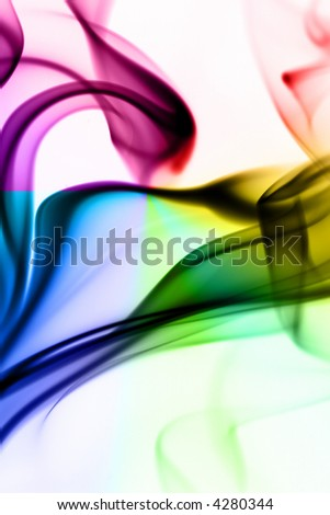 Colorful rainbow silky smoke on white