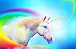 Colorful rainbow unicorn horse. Ancient mythical creature.