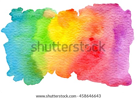 Colorful rainbow watercolor texture. Isolated on white background.