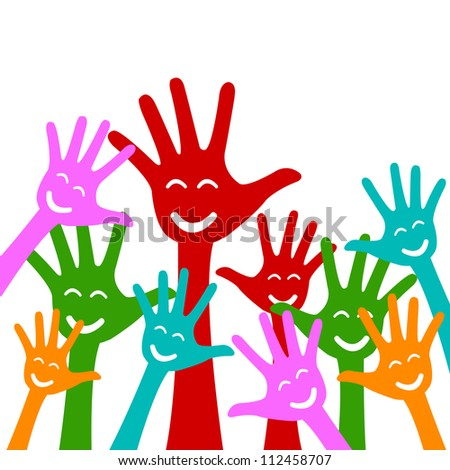 Colorful Raised Hands With Smile Isolate on White Background For Volunteer and Voting Concept