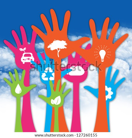 Colorful Raised Hands With White Icon Inside For Think Green Or Sustainable Development & Environment Concept in Blue Sky Background