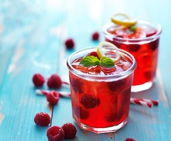 colorful raspberry cocktail drink
