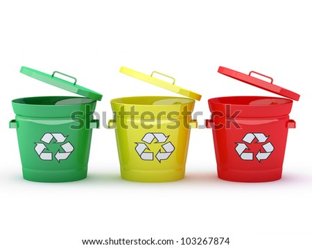 Colorful Recycle Bins Isolated - 3D render