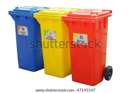 Colorful Recycle Bins Isolation - stock photo