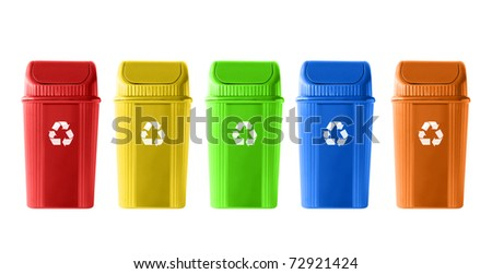 Colorful Recycle Bins on white background