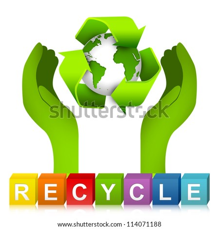 Colorful Recycle Cube Box And Hand Hold The World With Recycle Arrow Around For Recycle Concept Or Save The Earth Concept Isolated On White Background