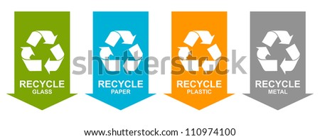 Colorful Recycle Sign Tag For Recycle and Conservation Concept Isolate on White Background