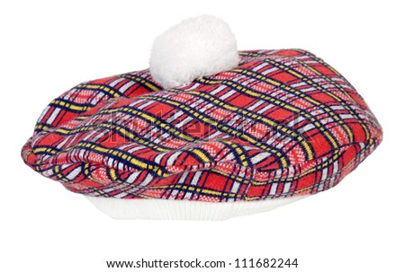 Colorful red and black plaid Beret that wears tight to the head - path included - stock photo