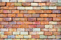 colorful red brick wall