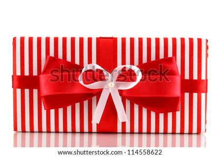 Colorful red gift with bow isolated on white