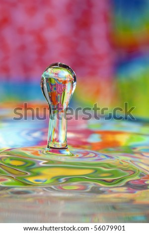 Colorful red, yellow, pink green and blue water drop and splash