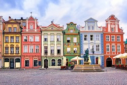 Colorful renaissance facades on the central market square in Poznan, Poland