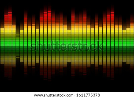 Colorful retro audio equalizer bars with sound spectrum colors from green to red isolated on black. Music or decibels wave illustration. Stock photo ©