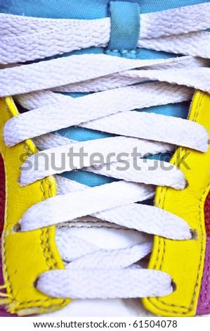 Colorful retro sneakers - closeup shot -