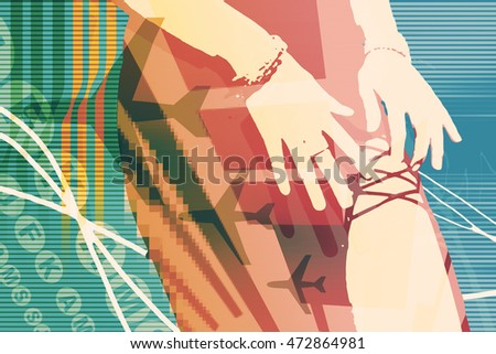 colorful retro styled background with random letters, airplanes, and a female figure showing her leg