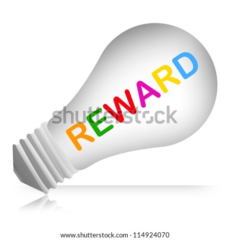 Colorful Reward Text Inside The Light Bulb For Business Concept Isolated on White Background
