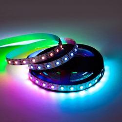 Colorful RGB glowing smart LED garland strip christmas lights on reel.
