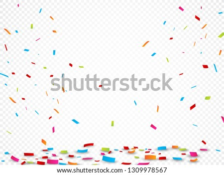 Colorful ribbon and confetti, isolated on transparent background