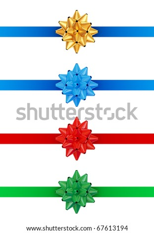 Colorful ribbons and bows set. 3d rendered. Isolated on white.