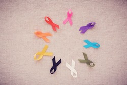 colorful ribbons, cancer awareness, World cancer day , national cancer survivor day, World Autism Awareness Day background
