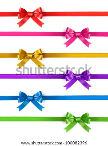 Colorful ribbons with bows on a white background