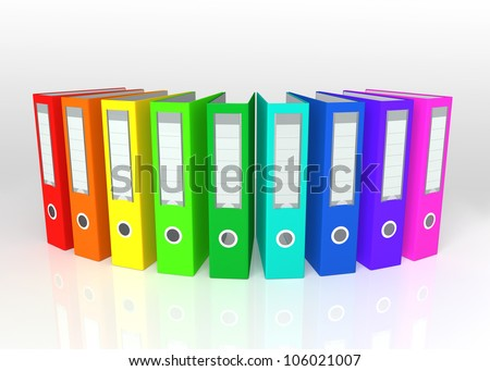 colorful ring binders arranged in curve