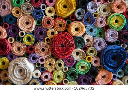 colorful roll mulberry paper background. Stockfoto ©