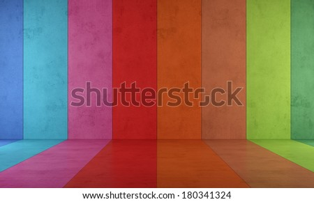 Colorful room with concrete paneling without furniture - rendering