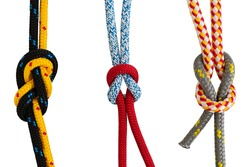 Colorful ropes isolated on white background
