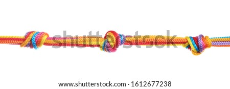 Colorful ropes tied together with knots isolated on white. Unity concept
