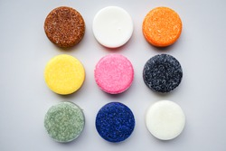 Colorful round solid shampoo bars (zero waste)