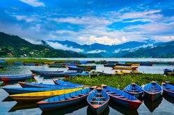 Colorful row boats docked on Lake Phewa in Pokhara, Nepal.
